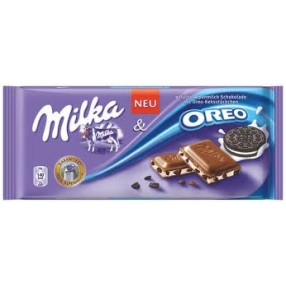 MILKA chocolate con leche relleno de galleta oreo tableta 100 grs