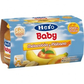HERO BABY melocoton platano pack 2 x 130 grs