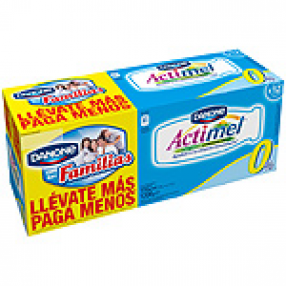 DANONE ACTIMEL 0% yogur liquido natural pack 12