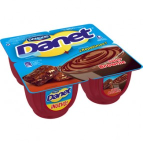 DANONE DANET natillas sabor brownie pack 4