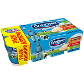 DANONE yogur sabores 2 fresa+2 macedonia+2 limon+2 galleta pack 8 u.