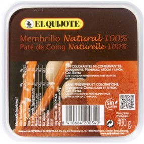 Membrillo natural 100%  EL QUIJOTE tarrina 400 grs