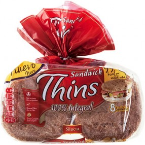 BIMBO SANDWICH THINS Pan 100% integral bolsa 310 grs