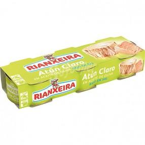 RIANXEIRA Atun claro en aceite de oliva bajo en sal pack 3