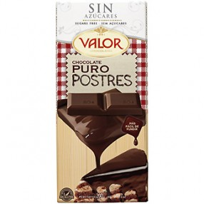 VALOR chocolate puro postres sin azucar tableta 200 grs