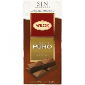 VALOR chocolate puro sin azucar tableta 150 grs