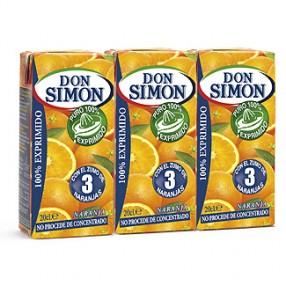 DON SIMON zumo de naranja exprimida pack 3 envase 200 ml