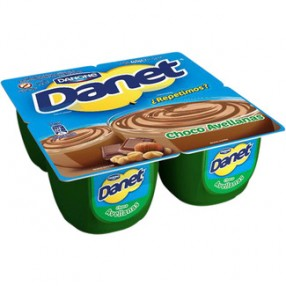 DANONE DANET natillas sabor chocolate y avellanas pack 4