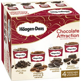 HAAGEN-DAZS Chocolate attraction 4 unidades de 100 ml estuche 400 ml
