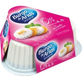Queso fresco natural 0% mini BURGO DE ARIAS pack 3 envases 75 grs