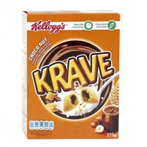 KELLOGG´S KRAVE Cereales rellenos de cacao y avellana paquete 375 grs